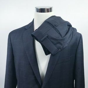 Brooks Brothers Mens 44R Suit 38 x 29 Pleated Navy